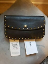 COACH 1941 Glovetanned Leather rivets Wristlet Clutch Black $60.00