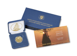In Hand Mayflower 400th Anniversary Gold Reverse Proof Coin 20xc