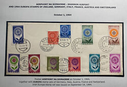 1964 Shannon Airport Ireland Cover Europa Stamp Sets Of Germany Italy Austria