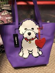 Marc Tetro Handbags Purple Bichon Tote Bag with Heart Dangle Authentic CUTE NWT $59.99