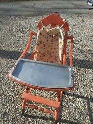 Turn Of The Century Antique Vintage Wooden Baby Feeding High Chair Metal Tray