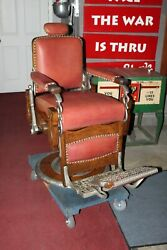 Early 1900and039s Koken Antique Wood Oak And Leather Barber Chair Unrestored