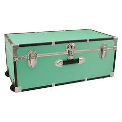 30quot; Footlocker Trunk Storage Wheels Lockable College Dorm Camp Travel Teal Solid
