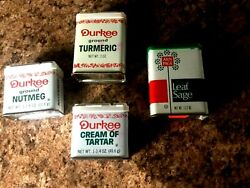 Lot 4 Vintage Spice Tin Cans Durkee Schilling