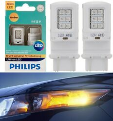 Philips Ultinon Led Light 3057 Amber Orange Two Bulb Front Turn Signal Stock Fit