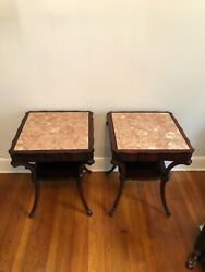 1940s Two-tier Mahogany End Tables With Marble Top - A Pair