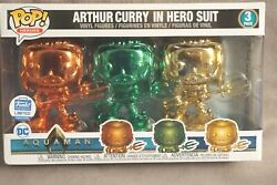 Funko Pop Hero Dc Aquaman 3 Pack Chrome Limited Edition Brand New In Box