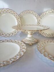 Minton Reticulated Plates And Tazza Gold Gilded
