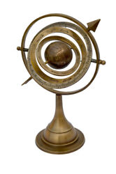 Antique Brass Armillary Sphere With Arrow 11 Nautical Maritime Engraved Globe
