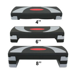 30and039and039 Fitness Aerobic Step Adjust 4 - 6 - 8 Indoor Exercise Stepper W/risers