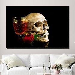 Skull With A Drink Skulls And Dark Art Canvas Print For Wall Decor