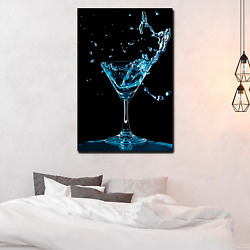 Blue Curacao Splash Cocktail Beer Whiskey And Wine Canvas Art Print For Wall Dec