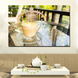 Breakfast Latte Cafe And Coffee Canvas Art Print For Wall Decor
