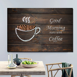 Good Morning Starts With Coffee Cafe And Coffee Canvas Art Print For Wall Decor
