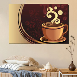 Coffee Cup Poster Cafe And Coffee Canvas Art Print For Wall Decor