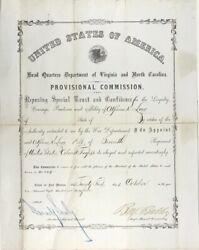 Benjamin B Butler / Provisional Commission Signed By Butler As And039major General