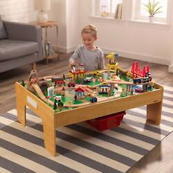Wooden Train Set And Table Kids Wooden Toys Play Thomas Town City Preschool Home