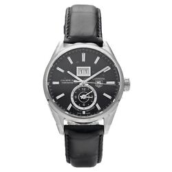 Tag Heuer Carrera War5010 Gmt Steel 41mm Black Leather Automatic Men's Watch