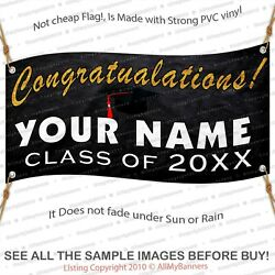 Personalized Name Graduation Banner Black Gold Party Decoration Class 2021