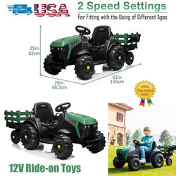 12v Kids Ride On Tractor Car Toys 2in1 Electric Music Seat Belt With Big Trailer