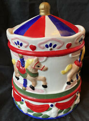 """Carousel Cookie Jar 11"""" Vintage Red White And Blue Merry Go Round Horse Pony Euc"""
