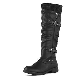 Womens Side Zipper Military Knee High Riding Boots Low Flat Buckle Shoes Size US $33.24