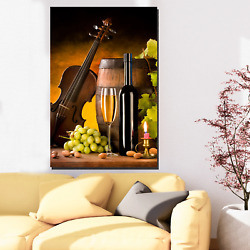 Wine And Violin Musical Instruments Canvas Art Print For Wall Decor