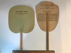 Vtg Ray Funeral Home Ambulance Service Burial Assoc Madison Nc Paper Fan 2 Lot