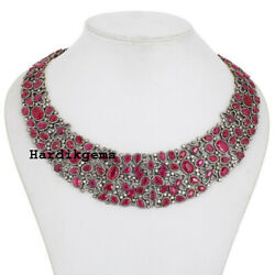 Solid 925 Sterling Silver Natural Diamond And Ruby Victorian Handmade Necklace
