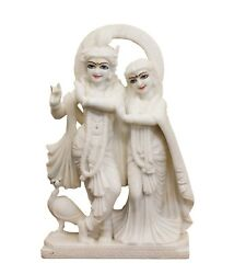 Lord Radha Krishna Figure Statue Hand Carved White Marble Stone Vintage Us218mh