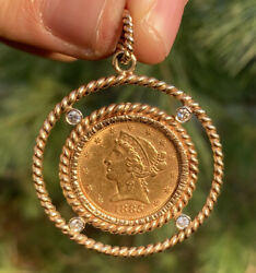 Vintage 1885 5 Five Dollar Gold Eagle Coin Piece Braided Diamond Pendant