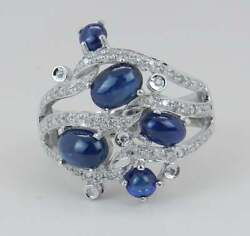 Estate Vintage 14k White Gold Diamond And Sapphire Large Cocktail Ring