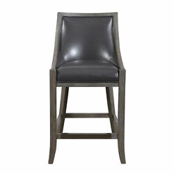 Elegant Gray Brown Faux Leather Bar Stool Counter Back Cushion Exposed Wood