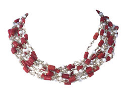 Artisan Hand Made Red Coral And Cultured Pearl Bead Torsade Necklace
