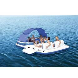 Large Giant Inflatable Boat Water Float Island Lounge 6-person Lake Ocean Party