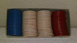 Vintage Thesco Horseshoe 90 Embossed Paper Poker Chips Kirby Cogeshall