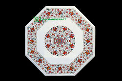 30and039and039 White Marble Table Top Center Coffee Dining Inlay Mosaic Pietra Dura H2