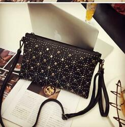 leather Clutch Handbags Purse Women#x27;s Rivet Crossbody Diamonds Totes Small Black $19.99