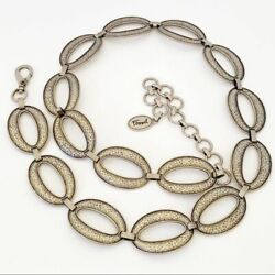 Fossil Hammered Oval Links Silver Chain Waist Belt Lobster Clasp Euc One Size