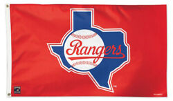 Texas Rangers 1980s State Map And Ball Style Huge 3'x5' Mlb Team Flag