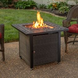 Mr Bbq Lp Firepit Slate Tile 50000 Btu 30 In Patio Deck Fire Table With Insert