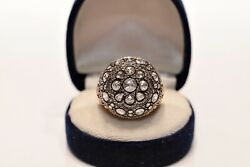 Antique Ottoman Style New Made 8k Gold Natural Rose Cut Diamond Decorated Ring