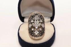 Antique Ottoman Style New Made 18k Gold Natural Diamond Decorated Big Ring