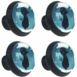 Black Cat Drawer Knob Pull Handle Crystal Glass Cabinet Pulls Cupboard Knobs For