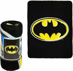 Jpi Batman Emblem Super Soft Luxury Fleece Throw Blanket With Sewn Edge 100 Pol