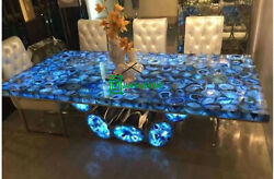 4and039x2and039 Dining Coffee Center Marble Table Top Inlay Agate Decor With Stand