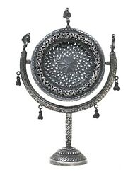 Antique Mirror Stand Silver Hand-crafted Indian Collectible Home Decorative Gift