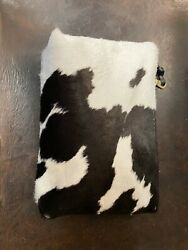Real Cowhide Purse Women Wallet Clutch Bags Black amp; White Cow Leather $50.00
