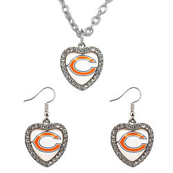 New Chicago Bears Crystal Heart Simulated Diamond Necklace And Earring Jewelry Set