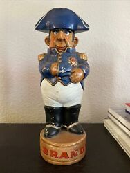 Vintage 1970and039s Napoleon Brandy Decanter Ceramic Liquor Bottle Painted By Pat
